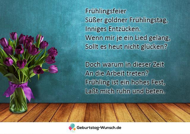 Süßer goldner Frühlingstag, Inniges Entzücken