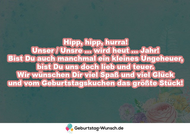 Hipp, hipp, hurra!  Unser / Unsre