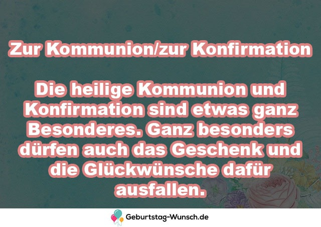 Zur Kommunion/zur Konfirmation  Die
